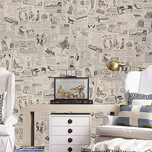 LIFAVOVY Vintage Newspaper Peel and Stick Wallpaper Decorative Contact Paper Waterproof Self Adhesive Shelf Drawer Liner Roll 17.7' x 393'
