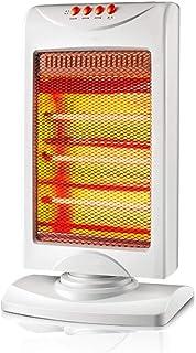 HM&DX Cuarzo Estufa halógena con 3 Ajustes de Calor, Oscilante Portátil Calefactor eléctrico Inicio Oficina Consejo Sobre Cierre de protección 1200w -Blanco