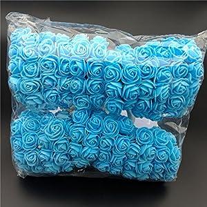 Rosas artificiales de espuma, 144 unidades Feeilty Mini rosas artificiales para bricolaje, ramos de boda, fiesta, baby shower, decoración del hogar azul