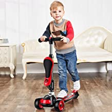 Mopoq 2-in-1 Sit-on Scooter Yo-Yo Slider Adjustable Height Extra Wide Removable Seat for Children and Toddlers Girls or Bo...