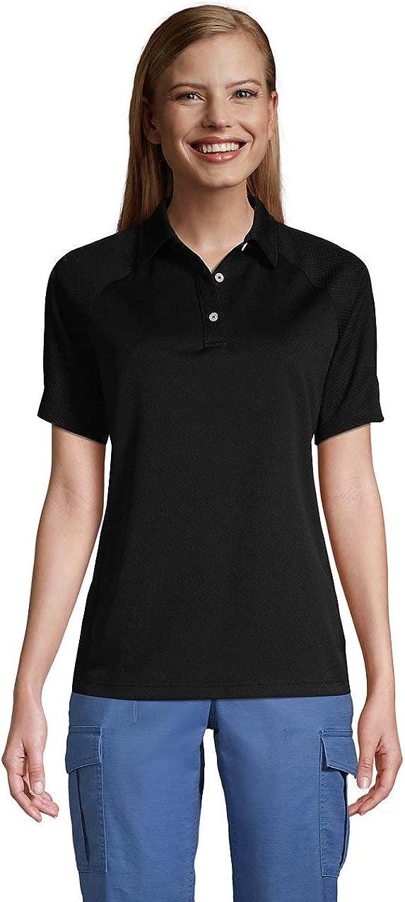 Lands' End Women's Short Sleeve Multi Textured Polo Medium Black