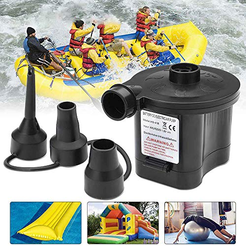 KADDGN Batteriebetriebene 6V elektrische Luftpumpe Inflator Spielzeug Boot Luftmatratze Pumpe 3 Düsen