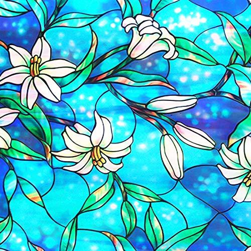 Housolution Painted Fensterfolien, No-Kleber statische Dekor Privatsphäre PVC Fensterfolien nicht-klebende Mattglas Aufkleber Heat Control Anti-UV-Schutzhülle für Home Decor, Orchidee (79 x 18 IN)