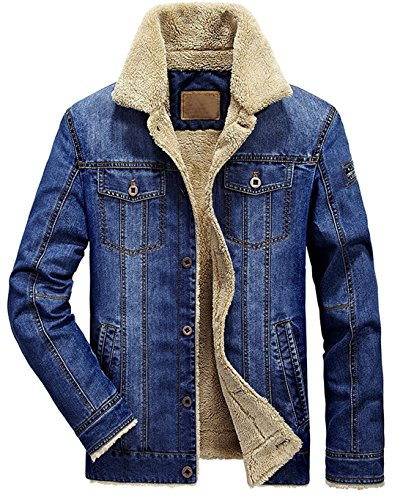 chouyatou Men's Classic Button Front Rugged Sherpa Lined Denim Trucker Jackets (Medium, Blue)