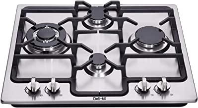 Deli-kit DK245-A04 24 inch gas cooktop gas hob stovetop 4 burners LPG/NG Dual Fuel 4 Sealed Burners Stainless Steel Built-In gas hob 110V AC pulse ignition gas cooktop gas stove