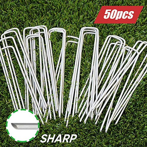 6 Inch Garden Stakes Galvanized Landscape Staples, U-Type Turf Staples for Artificial Grass, Rust Proof Sod Pins Stakes for Securing Fences Weed Barrier, Outdoor Wires Cords Tents Tarps, 50 Pcs