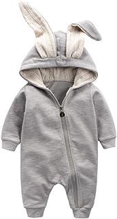 Winter Warm Baby Boys Girls Rabbit 3D Ear Zipper Hooded Romper Jumpsuit  Outfits 7710521f7