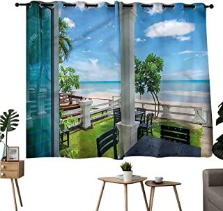 Fashion Darkening Curtains Grommets Curtain Door Panel Coastal,Chairs Tables by The Sea Privacy Assured Window Treatment W84 x L72