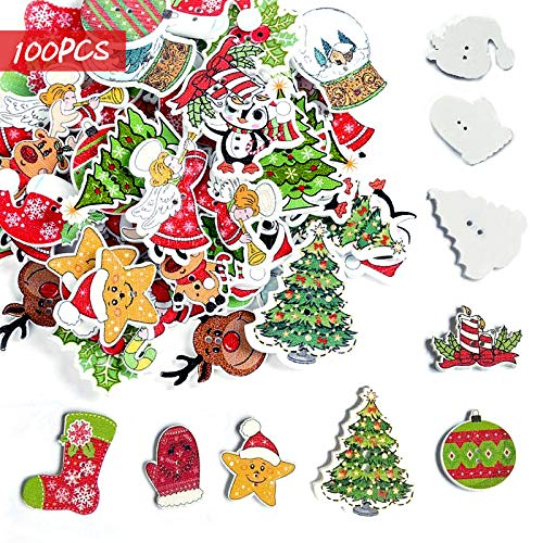 Gxhong Christmas Wooden Buttons, 100 Pcs Christmas Craft Buttons, Christmas Tree Reindeer Santa Claus Wooden Button Embellishments with Two Holes for DIY Christmas Party