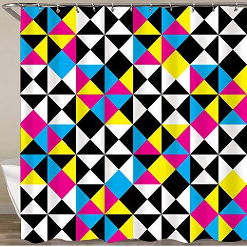 KGSPK Duschvorhang,Arabesque Abstract Intersections Pyramide CMYK Plaid Impression Negative Space Design,Wasserfeste Bad Vorhang aus Polyestergewebe mit 12 Haken Duschvorhang 180x180cm