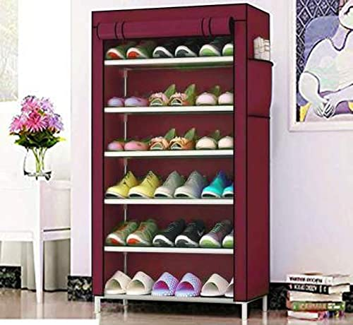 AYSIS Multipurpose Portable Folding Shoes Rack 6 Tiers Multi Purpose Shoe Storage Organizer Cabinet Tower with Iron and Nonwoven Fabric with Zippered Dustproof Cover 6 Maroon Shoes Rack for Home