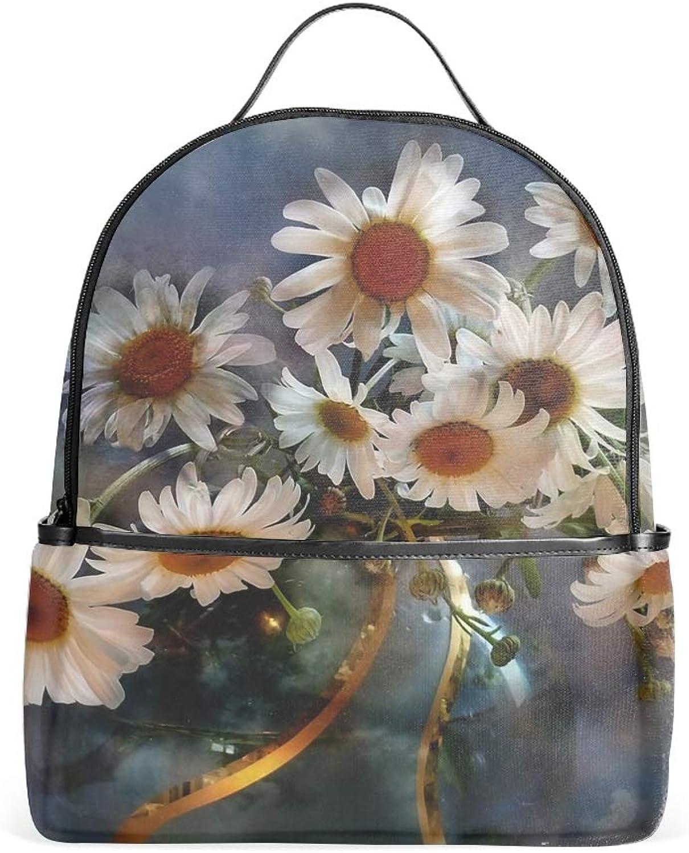 Backpacks Female knapsack Daypack Lightweight College Bags School Bookbag Casual Fashion White Flower Backpacks