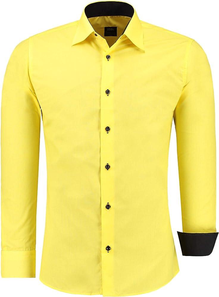 Jeel camicia da uomo - slim fit, a maniche lunghe , 70% cotone, 30% poliestere 12105A