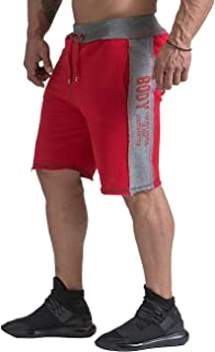 HAODIAN Men's Elastic Workout Jogger Shorts Gym Training Running Pants with Pockets