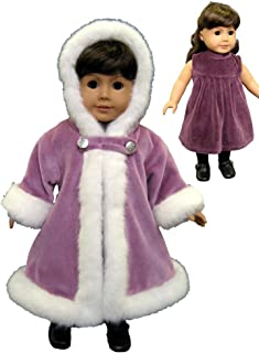 Purple Velvet Dress with Fur Trimmed Coat. Fits 18