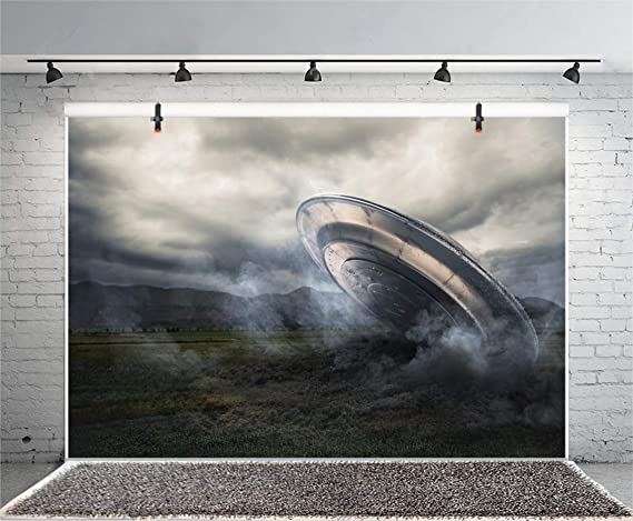 Outer Space 6x8 FT Photo Backdrops,Warning Alien UFO Sign Face of Martian Creature Danger Horror Theme Print Background for Baby Shower Bridal Wedding Studio Photography Pictures Black Yellow