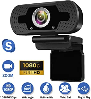 Webcam with Microphone for Desktop,1080P HD USB Live Streaming Laptop Computer PC Webcam for Video Calling Conferencing Recording Gaming, AutoFocus 3D Noise Reduction with 90-Degree Wide View Angle