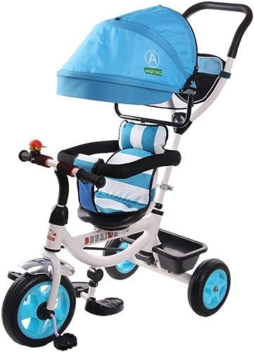 primera vez respuesta 4-en-1 Sports Sports Sports Edition Trike para Niños, Triciclo Infantil Multifuncional Trolley para Niños con toldo Anti-UV y Mango para Padres para Niños de 1-3-6 años Niño y niña Bicicleta azul Vibrante  auténtico