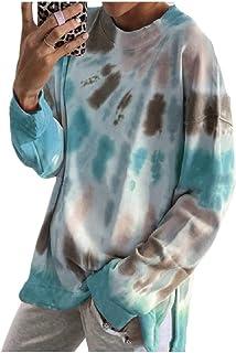 HEFASDM Womens Casual Tie Dye Print Sweatshirt Loose Long Sleeve Blouse Top