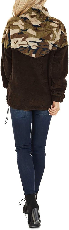 FIYOTE Damen Mantel Camouflage Patchwork Reißverschluss Tasche Winter Kunstpelz Jacke Weibliche Flauschige Overcoat Langarm Sweatshirt Braun