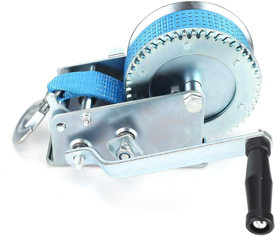 blue Yctze Manual Strong Winch W//32.8ft Belt 3500 Pounds Load Capacity ATV Marine Trailer Tool