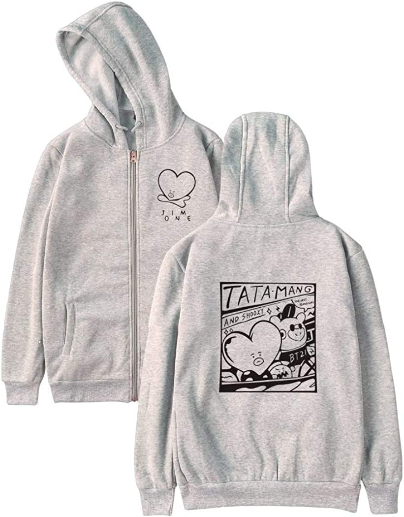 JLTPH Unisex Sudaderas con Capucha Tata Impreso Manga Larga Cremallera Hoodies Winter Warm Jumper Moda Deportiva Sweatshirt
