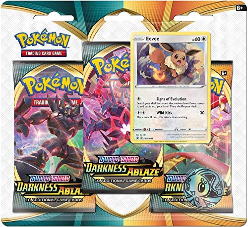 Pokémon POK80716-D12 TCG: Sword & Shield 3 Darkness Ablaze 3-Pack Booster (one at Random), Mixed Colours