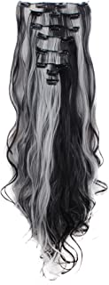 LHFLIVE Womens 18 Clips 8pcs Full Head Hair Extensions 24 Inch Long Curly Natural Black mix Silver Grey Hairpiece