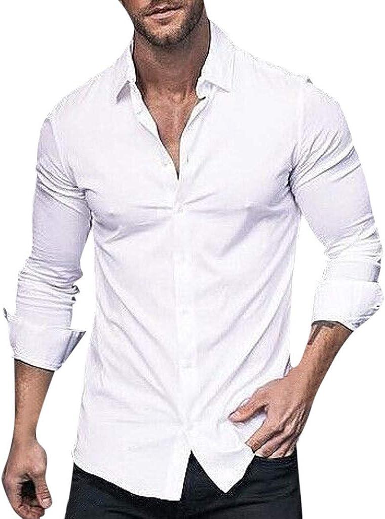Men's Button Down Shirt Long Sleeve Casual Dress Shirt Tops