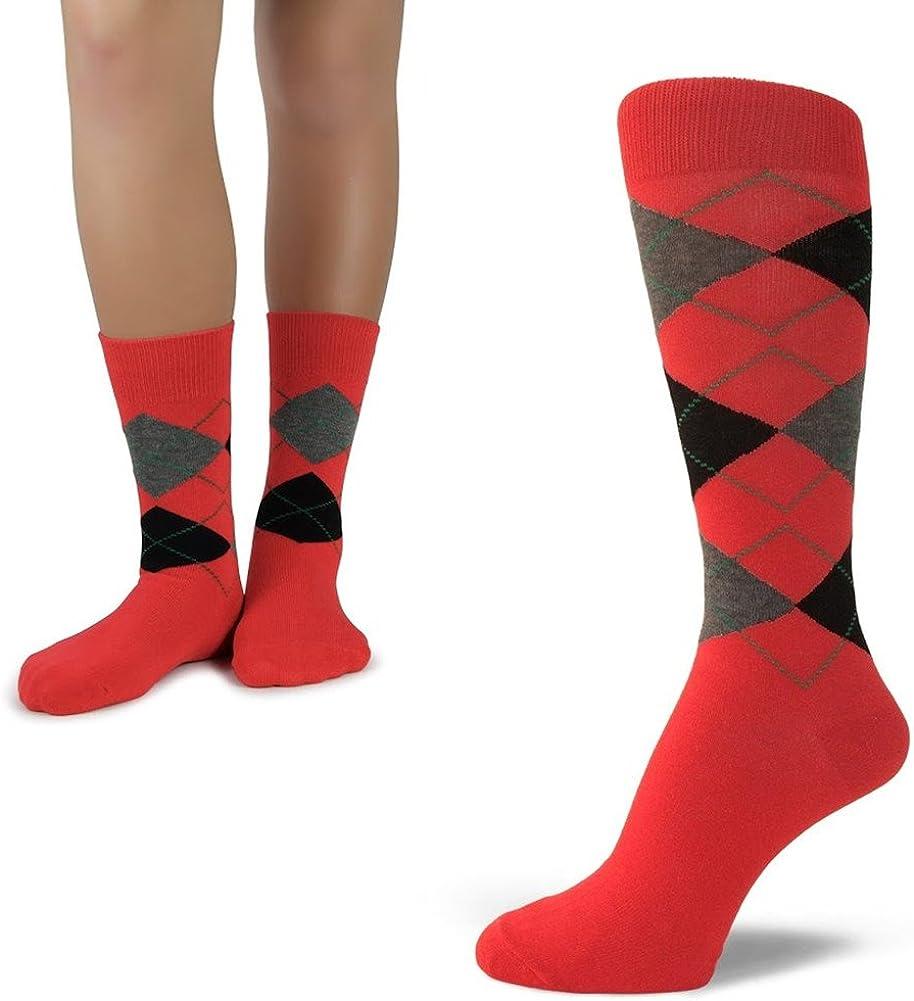 Elite Quality Colorful Soft Cotton Mens & Junior's Argyle Dress Socks Set