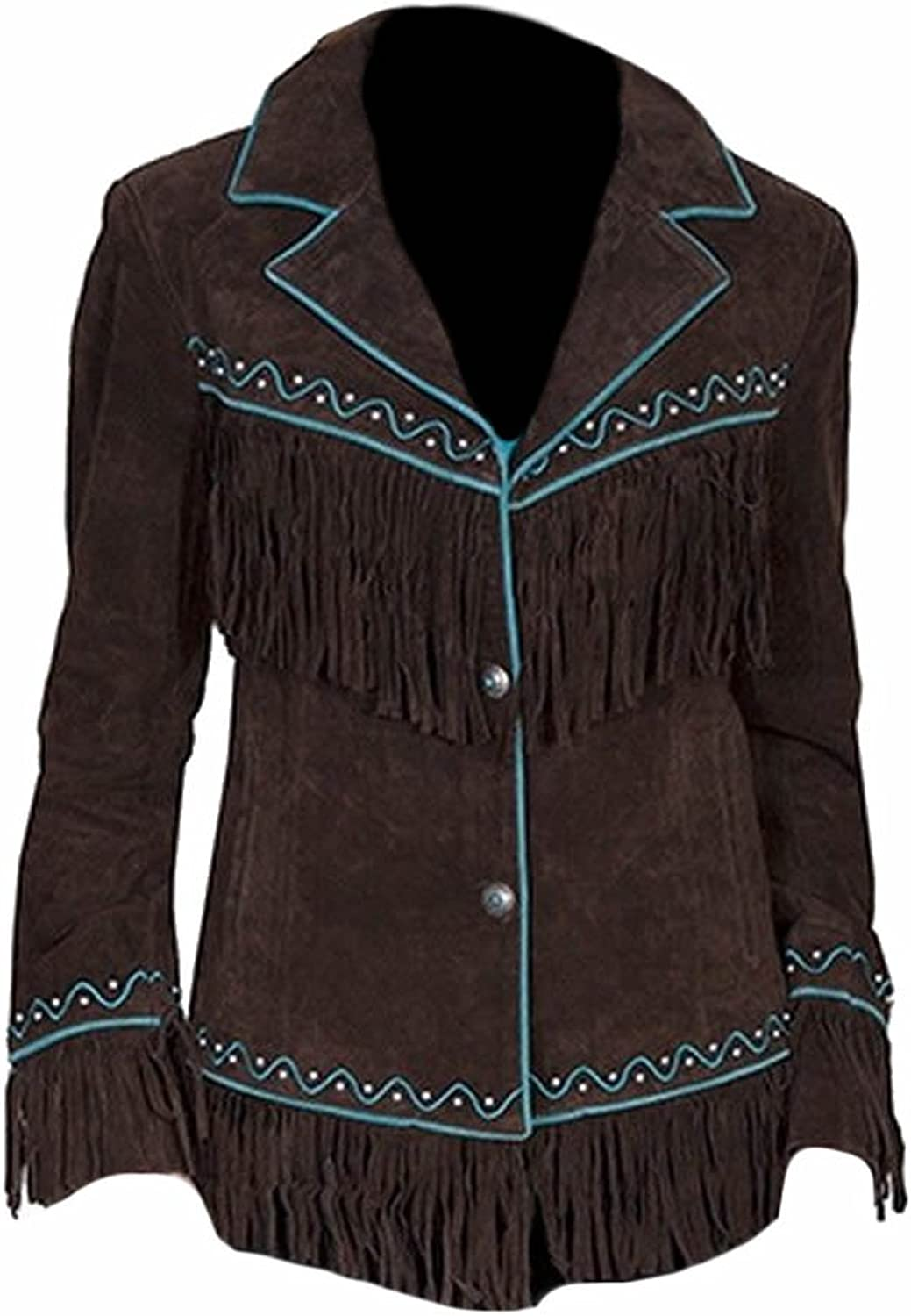 Classyak Women's Western Style Cowgirl Suede Leather Quality Fringed Jacket