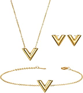 BEDO Fashion Stainless Steel Jewelry Set V Necklace Bracelet Stud Earrings Set for Women