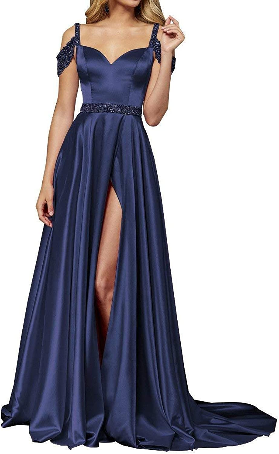 Liangjinsmkj Off The Shoulder Side Slit Emprie Long Prom Dresses Straps Beaded Satin Evening Party Homecoming Gowns