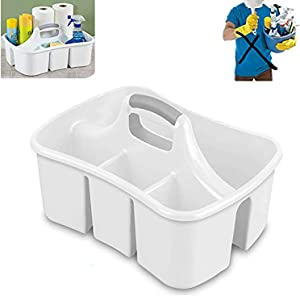 Lavo Home Bath Caddies - Totes with Divided Compartments and Handles for Organizing, Storing & Carrying Cleaning Supplies and Bathroom Accessories (Large Cleaning Caddy)