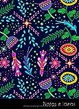 Notas e Ideas: Cuaderno / diario pequeño textura retro floral color vintage | tamaño A6, libreta rayada. Sostenible y neutral al clima.