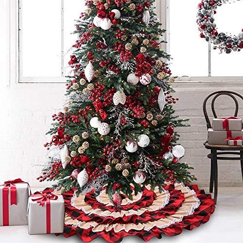 Dricar Weihnachtsbaum Rock Schürzen Weihnachtsbaumdecke Weihnachtsbaum Bodendekoration Weihnachts Plüsch Dekorationen Runde Christbaumdecke für Weihnachtenbaum Size 116cm