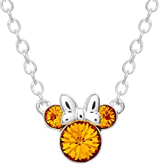 Disney Minnie Mouse Crystal Birthstone Silver Plated Pendant Necklace