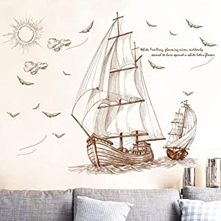 Retro Beautiful Style Sailing Trip Wall Sticker PVC Backdrop Decor for Home Kids Room Decals Wall Art Wallpaper Stickers P...