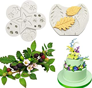 Bozoa Cake Decorating Fondant Icing Silicone Mold - Flowers buds and Pro Ferns Leaf Filler Flowers Molds
