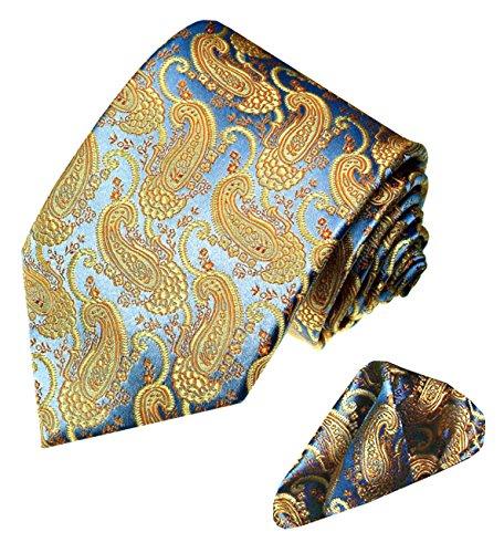 Lorenzo Cana - Marken 2 er Set aus 100% Seide - Barocke Paisley Krawatte mit Einstecktuch Gold Blau - 8420601