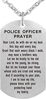 Police Officer Prayer Dog Tag Pendant Necklace Military Keychain Gift Brushed Steel