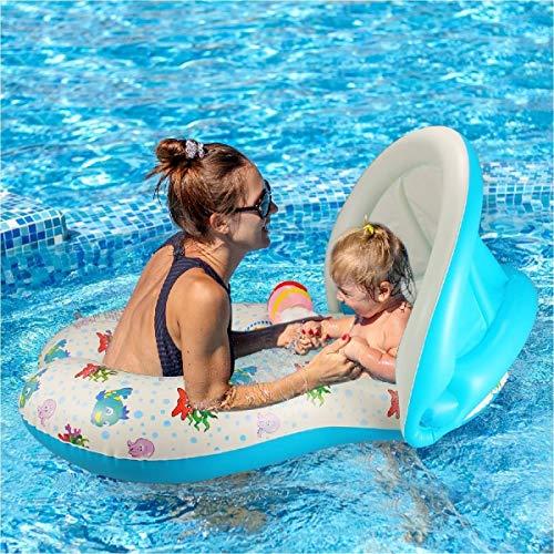 Babyzwemmen stoel zweven opblaasbare zwemmen drijvers, dubbele zwevende ring zwemhulpmiddelen zwemmen ring voor baby's van 6 maanden tot 3 jaar oud en moeder met zonnescherm en het stuurwiel