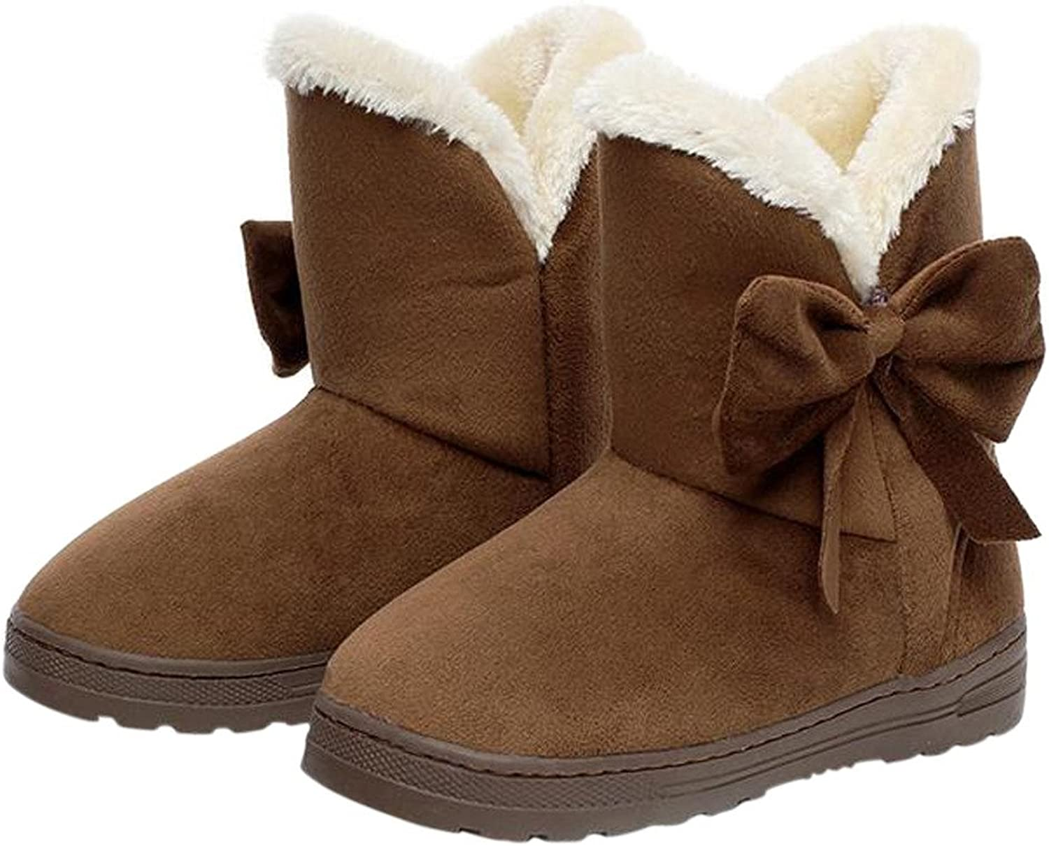 Dear Time Women Boots Solid Bowtie Slip-On Soft Cute with Round Toe