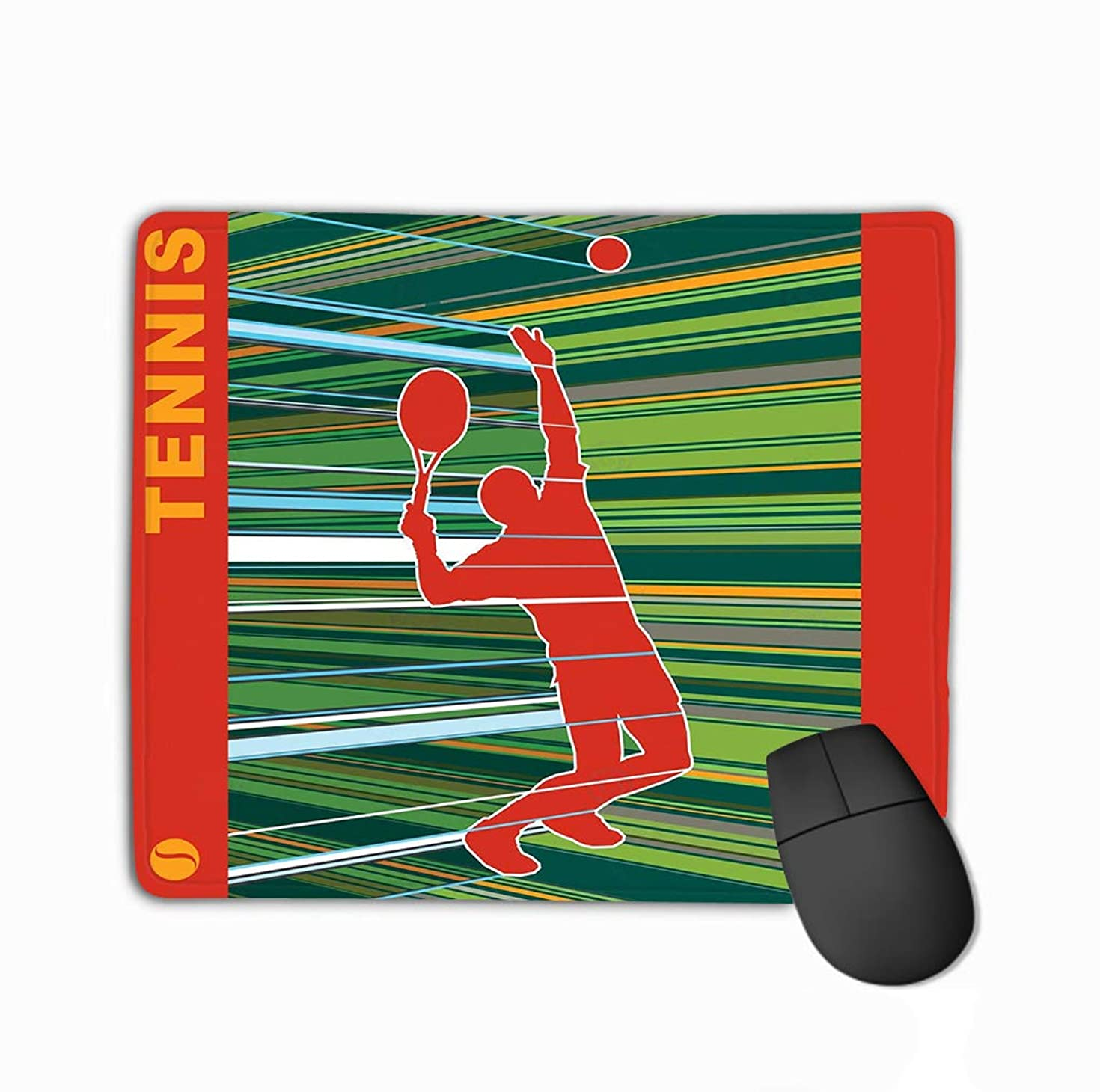 Mouse Pad Tennis Server Happy Painting Sports Rectangle Rubber Mousepad 11.81 X 9.84 Inch