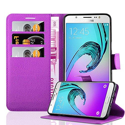 Cadorabo Funda Libro para Samsung Galaxy J7 2016 en Violeta DE MANGANESO - Cubierta Proteccíon con Cierre Magnético, Tarjetero y Función de Suporte - Etui Case Cover Carcasa