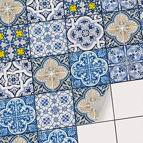 Wand-Sticker für Fliesen I Badfliesen u. Küchenrückwand überkleben mit Fliesen-Mosaik Aufkleber I Wand-Deko - Orientalische Muster u. Ornamente I 10x10 cm Motiv Klassisch - 40 Stück
