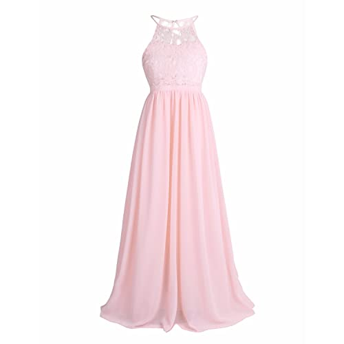 5e055763a48 iEFiEL Kids Girls Halter Lace Chiffon Flower Dress Junior Wedding  Bridesmaid Pageant Formal Party Dress Maxi