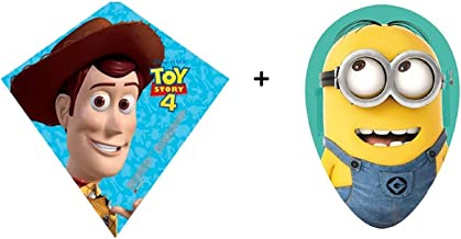"""Poly Kites • Pack of 2 • """" Toys Story 4 Sheriff Woody 23 """" + Dave Minion (Despicable Me 20"""""""