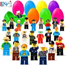 Joinart 24PCS Easter Eggs + 24PCS Mini Community People Easter Egg Fillers Easter Basket Stuffers Plastic Surprise Eggs Easter Gifts Easter Party Favors for Kids Boys Girls Toddlers