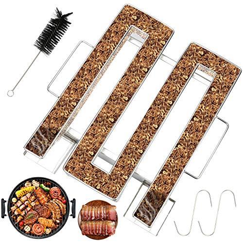 BMOT Kaltrauchgenerator, Edelstahl Kaltraucherzeuger mit Bürste + Haken, Cold Smoke Generator mit Griffen für Kugelgrill BBQ Grill, Kaltrauch Food Meat Smoker (22.5 x 17.5 x 4.5cm)
